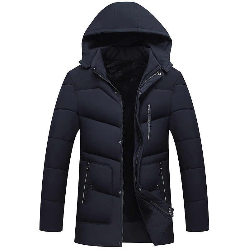 Casaco de inverno masculino, jaqueta com capuz de algodão, pai, roupas masculinas, médio e idade, casaco longo