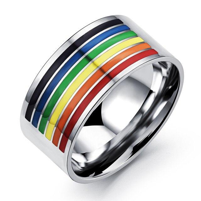 Lgbt Gay Pride Rainbow Ring Mens Rings Stainless Steel Bague Wedding