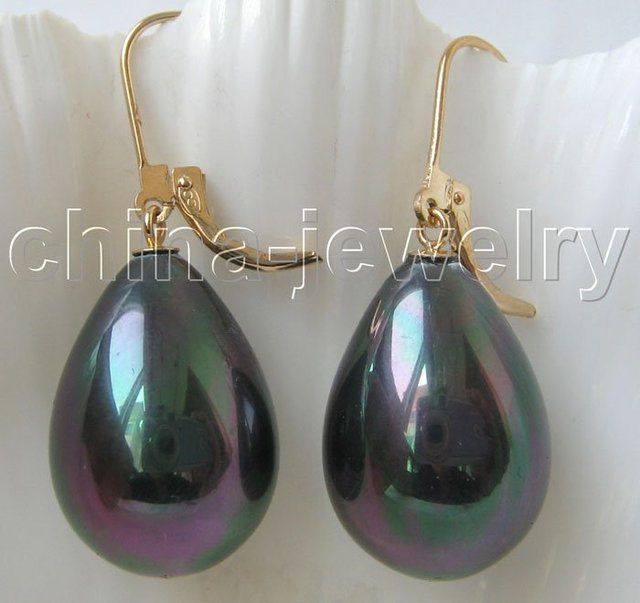 Gorgeous 20 mm black south sea shell pearl earrings