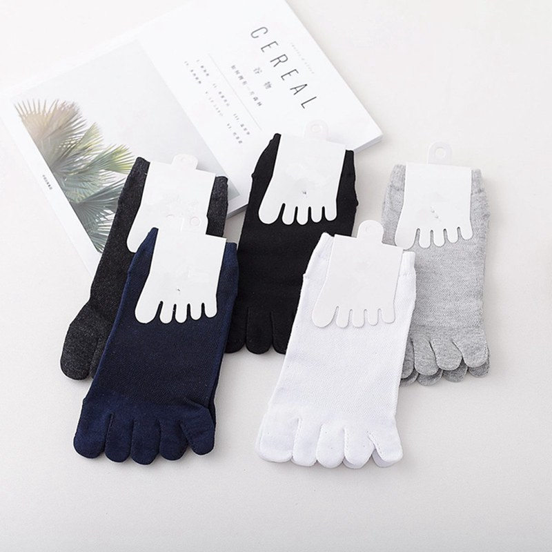 6 Pairs Men's Cotton Sweat-absorbent Sock Five Finger Toe Solid Color Breathable Socks Ankle Mesh Sports Socks QLY9420
