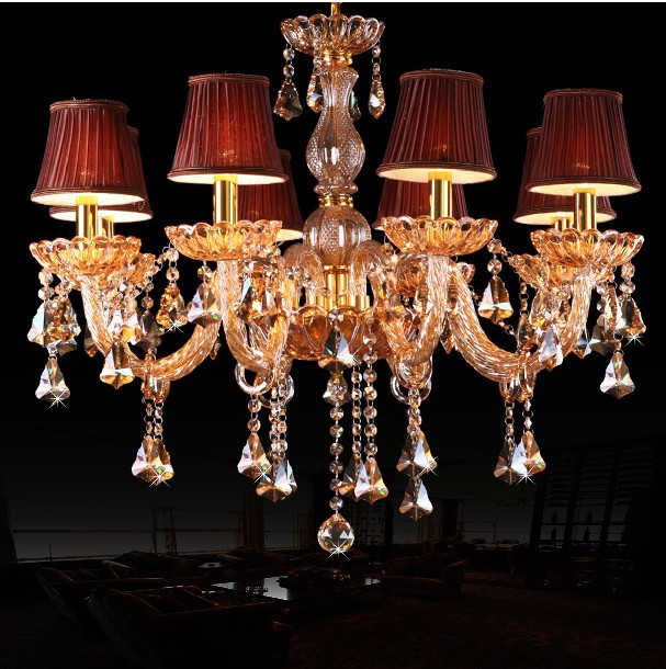 Top k9 champagne gold crystal light lighting classic candle top k9 champagne gold crystal light lighting classic candle chandelier light fixture with wine red fabric aloadofball Images