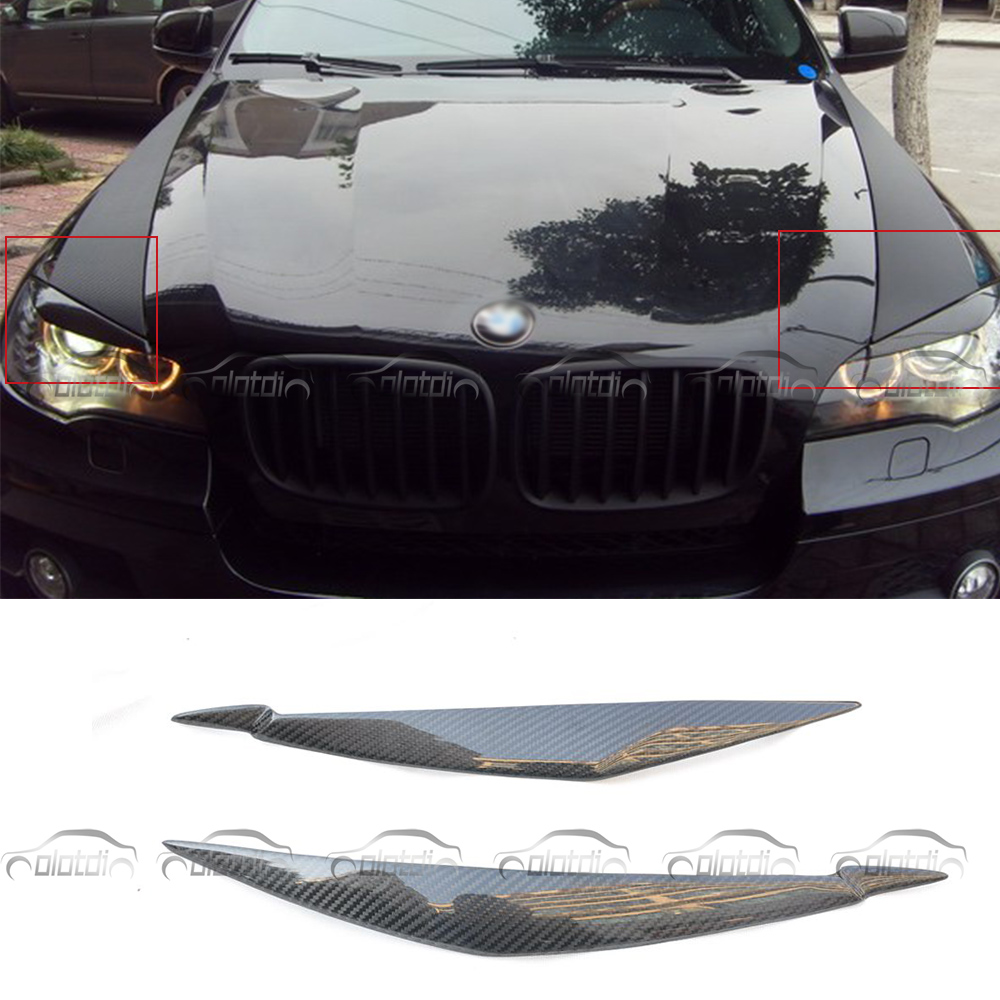 Vrais autocollants de voiture en Fiber de carbone paupière pour BMW E70 avant phares sourcils