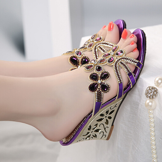 Rhinestone Sandals Wedges Platform-Shoes Cutout-Flower Open-Toe High-Heels Fashion Woman