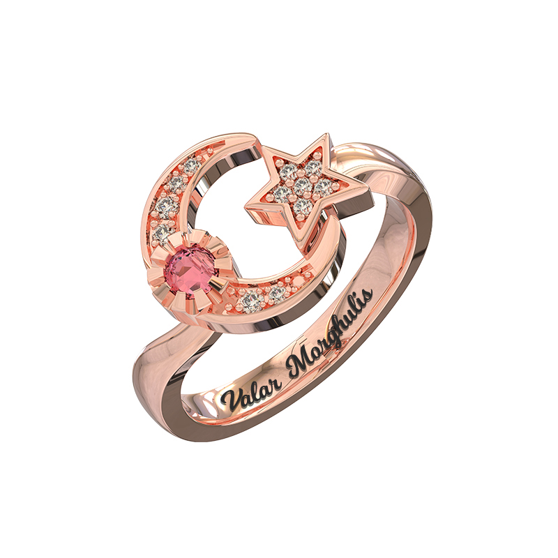 Wholesale Engraved Moon And Star Birthstone Ring Rose Gold Color In Sterling Silver For Birthday's Jewelry metal moon and star shap cuff ring