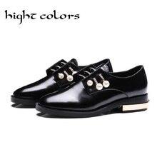 Señoras Desgaste Oxford Oxfords Zapatos de Moda 2 Estilo de Perlas de Cristal zapatos De Las Mujeres Decoración de Metal de Tacón Bajo Mocasines Más El Tamaño 33-43