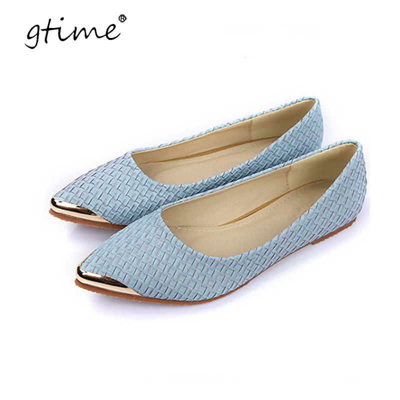Gtime Flats Woman 2017 New Arrival Metal decoration Pointed toe Women Shoes High Quality Comfortable Flat Shoes Plus Size ZWS214 2017 fashion women shoes woman flats high quality casual comfortable pointed toe rubber women flat shoes plus size 35 42 s097