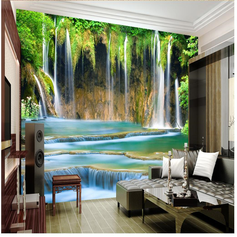 Beibehang living room custom painting rocky mountain falls for Papel mural living comedor