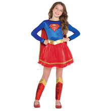 Nueva llegada Super-cute Look Superman Girls Supergirl superhéroe Fancy-Dress Disfraz de fiesta de Halloween