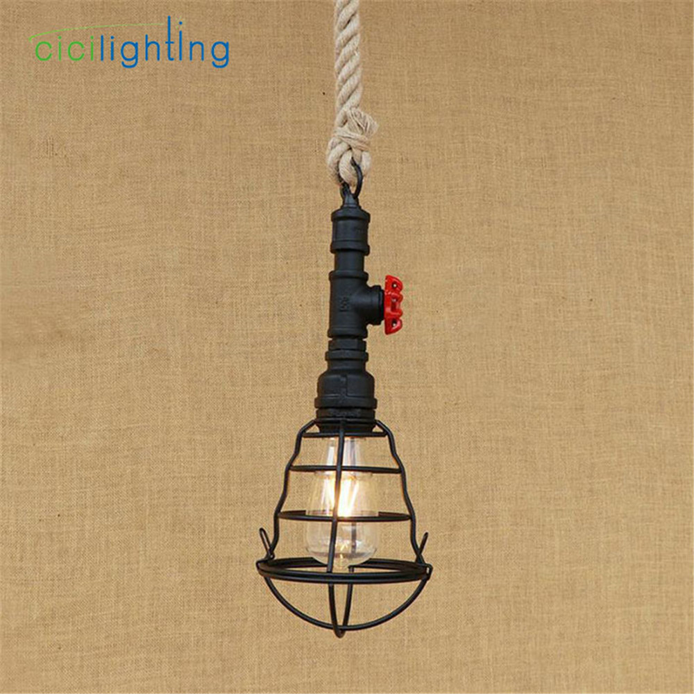 American Country 120cm hemp rope pendant light LOFT Retro Industrial Cafe Restaurant Water Pipe lustres pendant lamp fixtures vintage wicker pendant lamp hand made knitted hemp rope iron coffee shop pendant lamps loft lamp american lamp free shipping