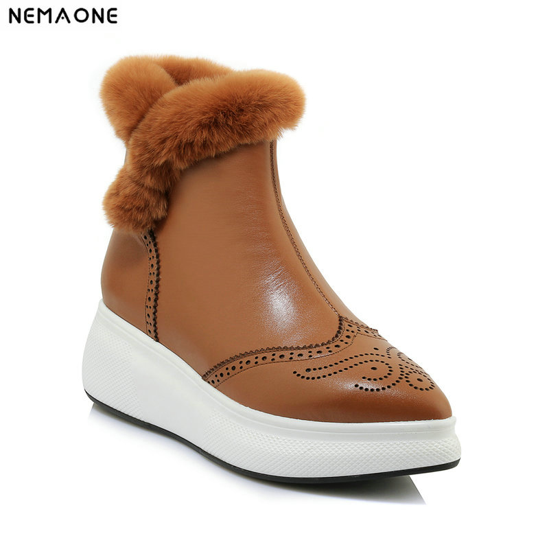 NemaoNe Top Quality 100% cow Leather Snow Boots Natural Fur Botas Mujer Winter Real Wool Shoes For Women nemaone 100