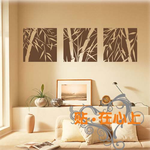 Wholesale Ikea Style PVC Bamboo 3 Painting Closet Glass Wall Sticker Wall  Decal Wallpaper Tile Sticker