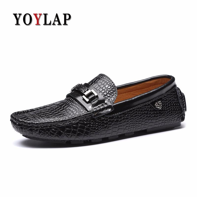 Brand 2018 High Quality Genuine Leather Shoes Men Handmade Moccasins Mens Shoes Casual Crocodile Leather Mens Loafers relikey brand men winter loafers high quality handmade genuine leather shoes soft driving male flats casual moccasins for men