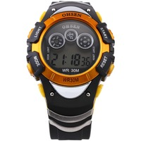 Mode OHSEN Digital LCD Display LED Back Light Datum Alarm Gummiband herren Orange Laufen Outdoor Sport Armbanduhren/OHS047