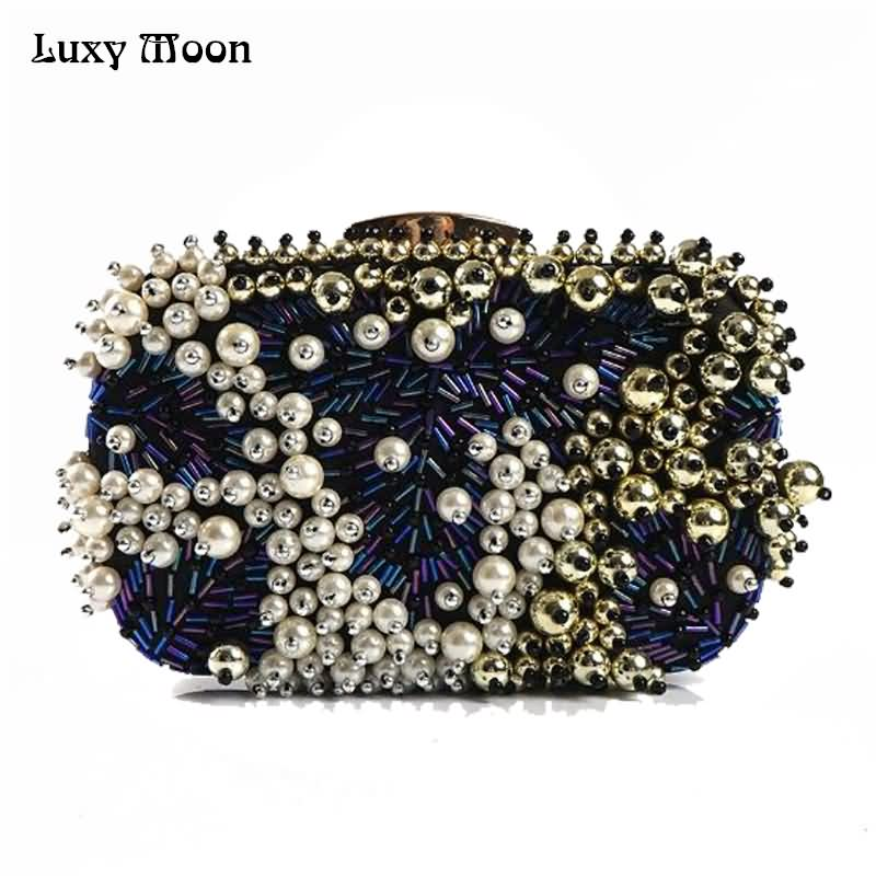 Luxy Moon Women Faux Pearl Bead Rhinestone Diamond Evening Clutch Fashion Purse Handmade Party Clutch Pearl Evening Bag ZD657