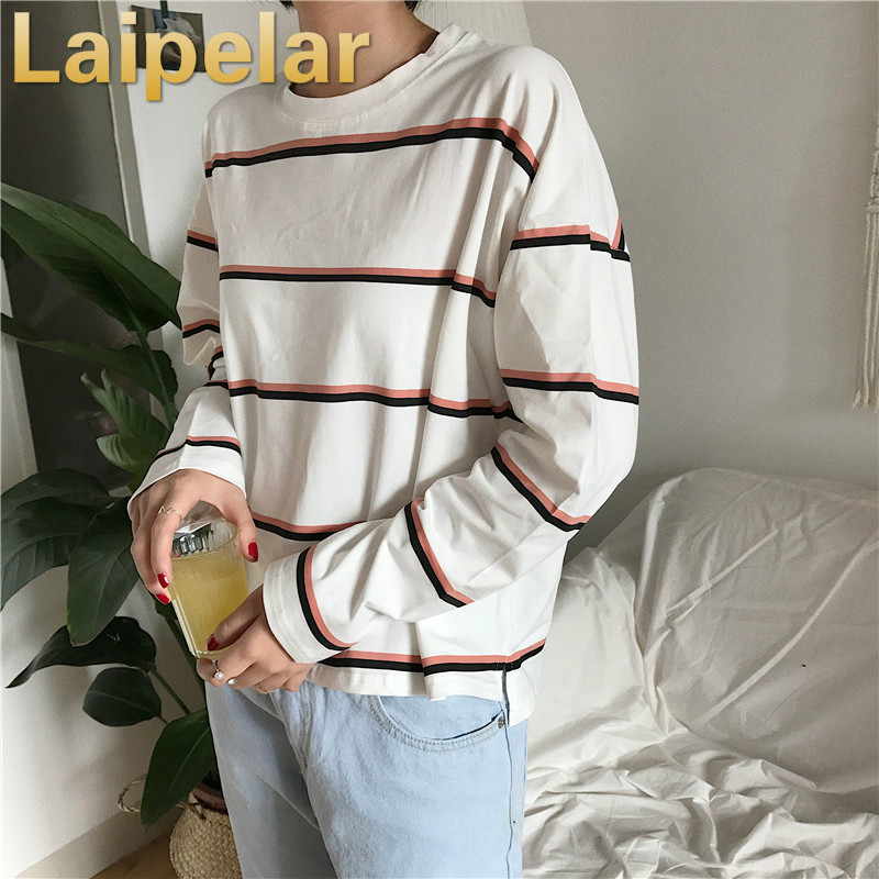 Womens New Korean Tops Simple O Neck Loose Striped Women Top Tees Female Long Sleeve Stripe Females Casual Fashion T Shirt Femme in T Shirts from Women 39 s Clothing