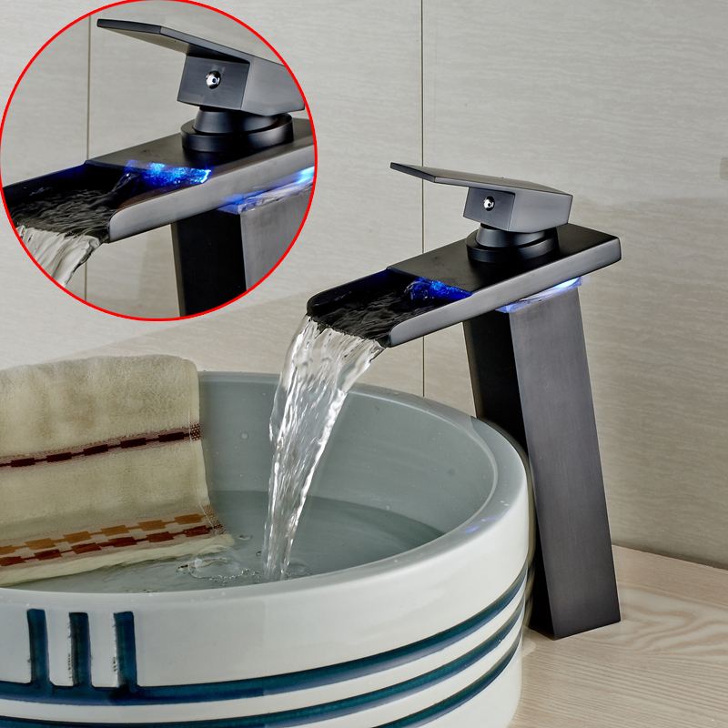 LED Oil Rubbed Bronze Bathroom Basin Faucet Waterfall Sink Hot Cold Mixer Tap led oil rubbed faucet bronze waterfall modern bathroom sink faucet volvey led waterfall basin mixer black glass water sink tap