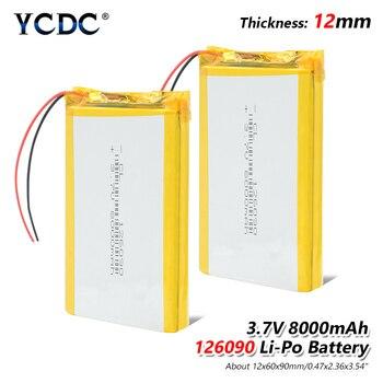 1/2/4 piezas 3,7 V 8000 mAh Li-Po batería recargable 126090 para MP4 Tablet PC DVD GPS medio Bluetooth altavoz cámara Digital, lámpara LED