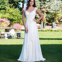 8421c18b9 Simple De cuello en V Cordón De encaje Vestidos De Novia sin respaldo  Chiffon plisado vestido Maxi playa Vestidos De boda matrim.