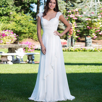 Simple V neck Beading Lace Vestidos De Novia Backless Pleated Chiffon A Line Long Beach Wedding Dresses Marriage Bridal Gowns