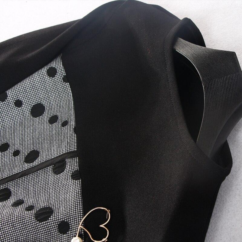 Naturale O 2018 Completa Black Inverno Abiti lunghezza Patchwork Donne L line Delle A Ginocchio 3xl Samgpilee Modo Di Appliques collo Casual Nuovo Manica qZWrwq06