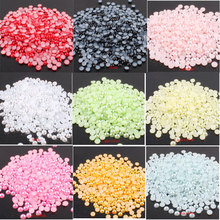 1000Pcs 6mm AB Colors Flatback Glue on Rhinestones Strass  Pearl Beads Multicolors ABS Resin Half Round Pearls for Nail Art E