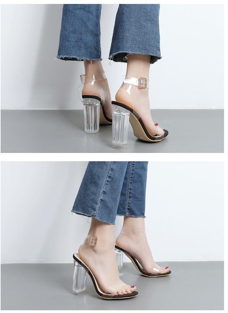 HTB10EXdXfjsK1Rjy1Xaq6zispXam Eilyken 2019 PVC Jelly Sandals Crystal Leopard Open Toed High Heels Women Transparent Heel Sandals Slippers Discount Pumps 11CM