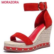 Morazora/Корова Кожаные Туфли летние женские на платформе с пряжкой обувь на танкетке однотонные босоножки для вечеринок модные женские туфли