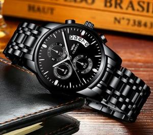 Image 4 - OLMECA Men Watch Luxury Watches Relogio Masculino 3ATM Waterproof Watches Calendar Wristwatch For Men Stainless Steel Band Saat