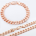 9mm JEWELRY SET Mens Chain Womens Round Cut Curb Cuban Link Rose Gold Filled GF Necklace Bracelet Set Wholesale Jewelry GS75