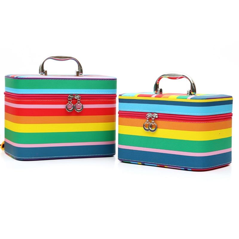 ФОТО 2Pcs /Set Women Female Colorful Stripe Cosmetic Bag Multi-function Portable Makeup Storage Box Large Capacity Free Shipping P491