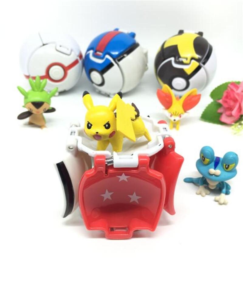 VIP-4Pcs/set Pocket ball(7cm) + 1pcs Figure(4-5cm) Inside Figures Toys for Kids Pikachu and more doll Pocket Monster ball Toys