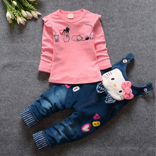 2017 spring youngsters cat tops +overalls pants clothes set child ladies leisure cartoon garments go well with youngsters tracksuit set