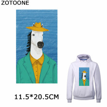 ZOTOONE Spoof Horse Head Iron on Patches Shirt Diy Sketch Patch for Clothing Funny Hip Pop Heat Transfer Applications Clothes