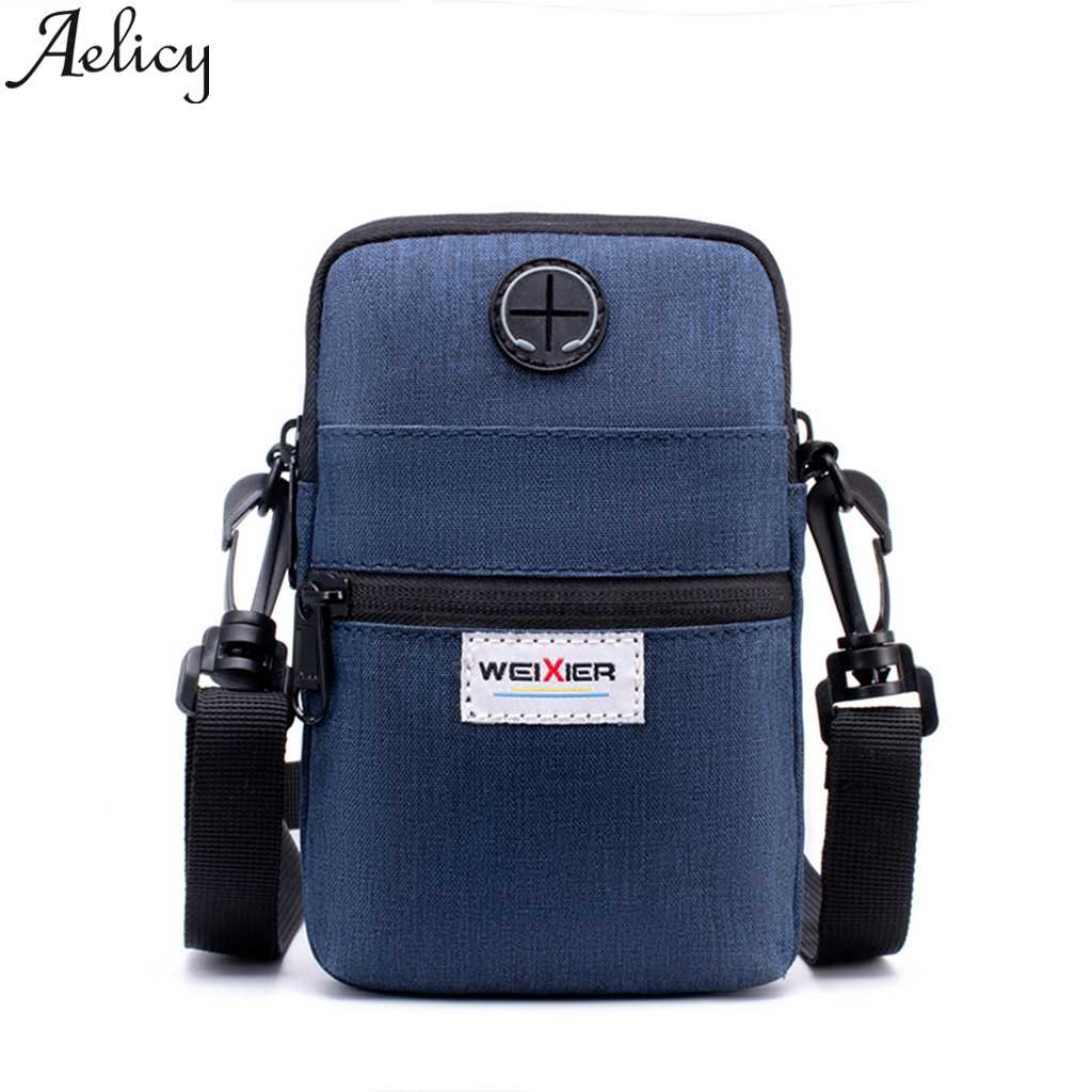 Aelicy Men Diagonal Mini Shoulder Bags 2019 Multi-Function Mobile Phone Bag Outdoor Sports Bag Crossbody Cell Phone Shoulder Bag