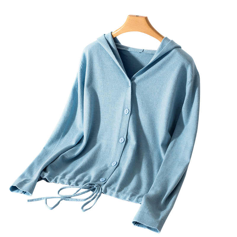 Hooded Cardigan Women 2019 Spring and Autumn New Solid Color Cashmere Casual Jacket Single Breasted Ladies Tops Thin V-neck Knit
