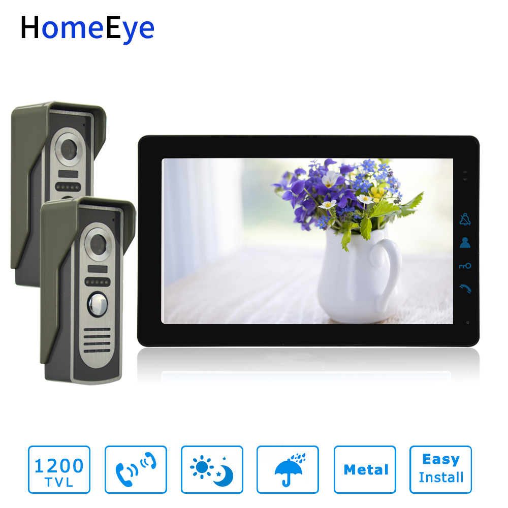 HomeEye 9inch 4-Wire Video Door Phone Video/Audio Dual-way Intercom Night Vision 1200TVL Multi-language OSD Menu Remote Unlock