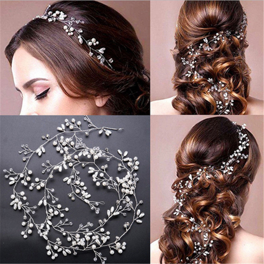 35cm Women Lady Pearl Wedding Hair Vine Crystal Bridal Diamante Headbands Decor Bridal Pearl Hair Band   Headwear   Hair Accessories