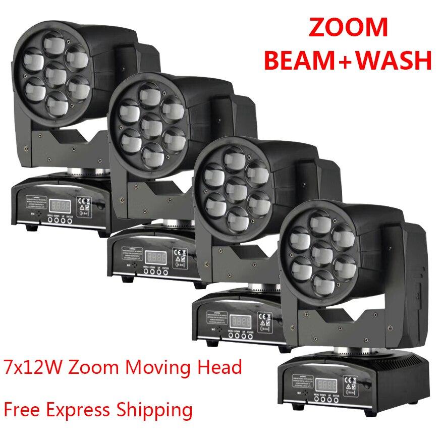 [4 пакет] светодиодный движущихся головного света с 7x12 Вт зум Dj оборудование мыть луч 2in1 свет 80 Вт DMX с Show КТВ диско DJ вечерние для сцены
