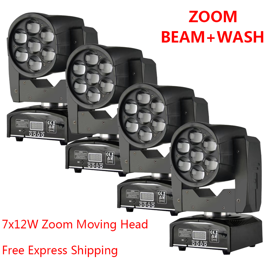 [4-Pack] LED Moving Head Light With 7x12W Zoom Dj Equipment Wash Beam 2in1 Light 80W DMX with Show KTV Disco DJ Party for Stage show plaza light stage blinder auditoria light ww plus cw 2in1 cob lamp 200w spliced type for stage