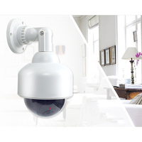 Waterproof Surveillance Outdoor Dummy Dome Fake CCTV Security Simulated Camera With Flashing Red LED Light Power