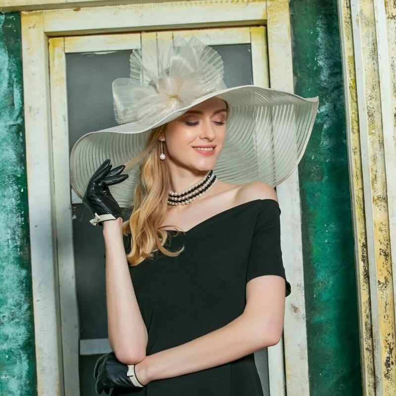 Women Fedoras Hat Organza Wide Brim Church Sinamay Hats Lady Flowers Wedding Dress Hat Kentucky Derby