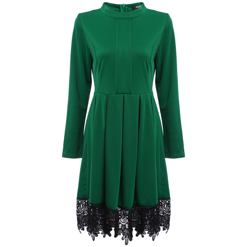 Fashion Patchwork Lace Long Sleeve Dress O-neck Spliced Pleated Europe 2019 American Style Slim