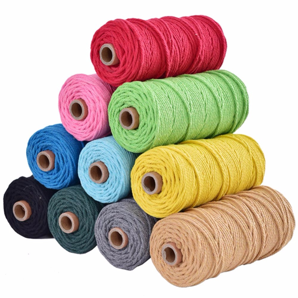 Crafts Knitting Decorative Projects  Cotton Twines Strings 3mmx100m Natural Cotton Twine Cord Yarn Twine Cord Macrame Cord for Handmade Plant Hanger Wall Hanging