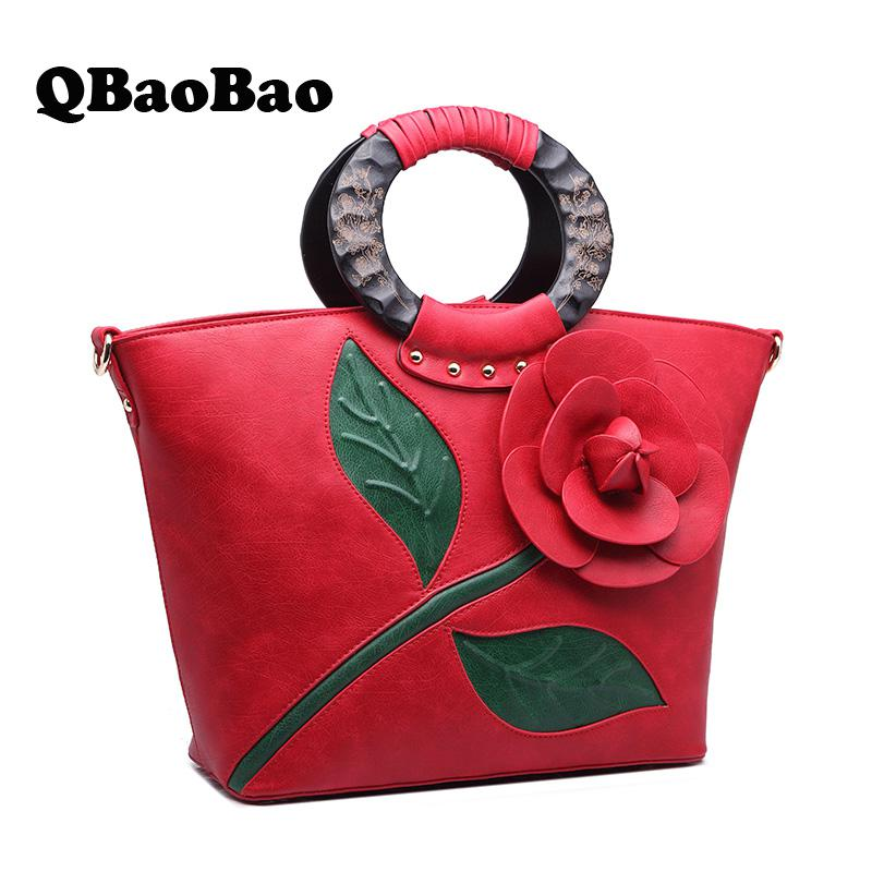 New Women Bag Tote Flower Vintage Female Cross-body Bag For Women Round Tote Hot Women Handbag tote bag with round charm
