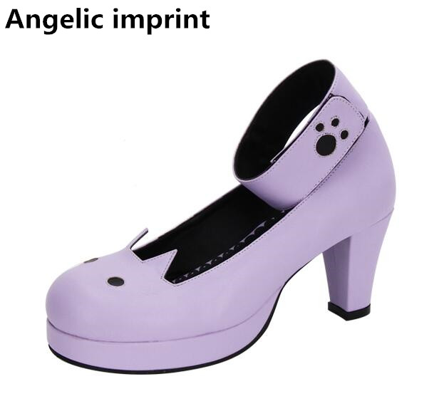 Angelic imprint woman mori girl lolita cosplay shoes lady high heels pumps women princess dress party