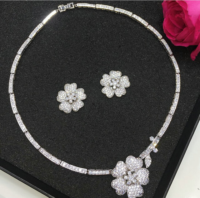 Hotsale Luxury bridal jewelry set white gold plated cubic zircon  flower chokers necklace earring wedding jewelry set