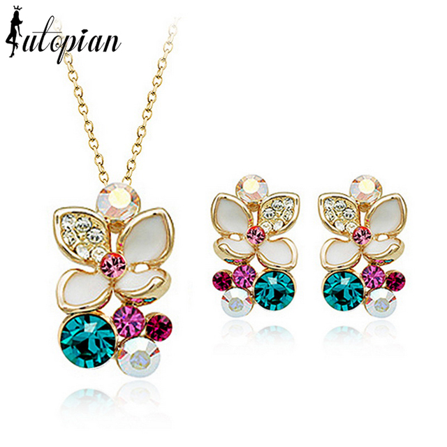 Iutopian Brand Valentine's Day Gift Elegant Flower Rose  Color Jewelry Set  With Austrian Crystal Stellux #RG20405