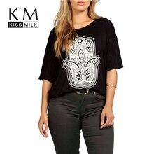 Kissmilk Плюс Размер Новая Мода Женщины Повседневная Персонализированные Печать Большой Размер Половина Рукава Футболки 3XL 4XL 5XL 6XL(China (Mainland))