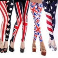New 2016 Women Summer Spring Casual Basic Leggings Trousers Long Pencil  Stars Stripes USA UK National Flag Printing Plus size