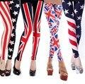 Nuevo 2016 Primavera Verano Mujer Casual Leggings Básicos Pantalones Largos Lápiz Stars Stripes EE.UU. Bandera Nacional del REINO UNIDO de Impresión Más El tamaño